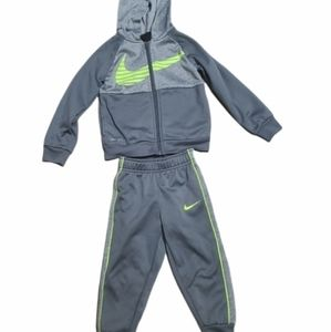Nike tracksuit grey and neon green Toddler size 3T